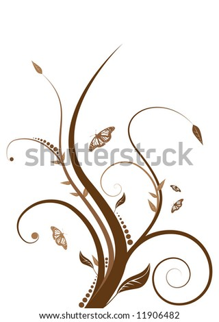 Abstract floral design with flowing line in shades of brown - stock vector