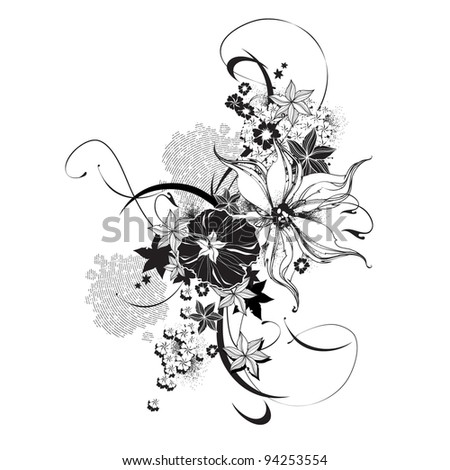 Abstract floral elements black and white - stock vector