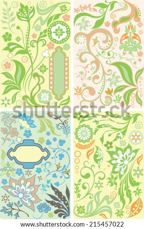 Abstract Floral Frame and Leaf - stock vector