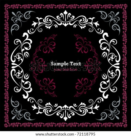 Abstract floral frame. Illustration vector - stock vector
