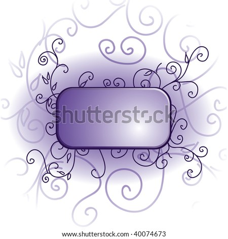 Abstract floral frame on white background