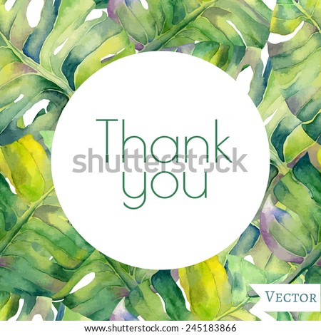 Abstract floral garden watercolor seamless background with thank you inscription. Liana background. Can be used for web pages, identity style, printing, textile, cards, wrapping, invitations, etc. - stock vector