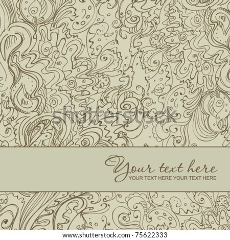 Abstract floral greeting card. Hand paint vector illustration. Place for your text.