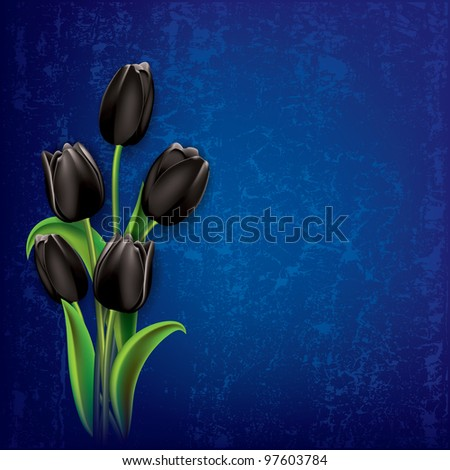 abstract floral grunge background with black tulips on blue - stock vector