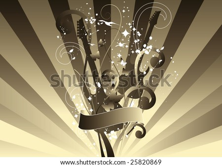 Abstract floral guitars with banner for your text on sunburst background. - stock vector