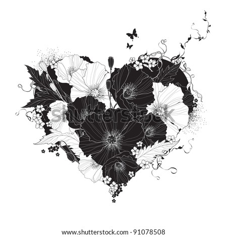 Abstract floral heart black and white - stock vector