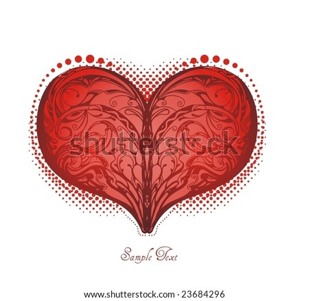 abstract floral heart shape - stock vector