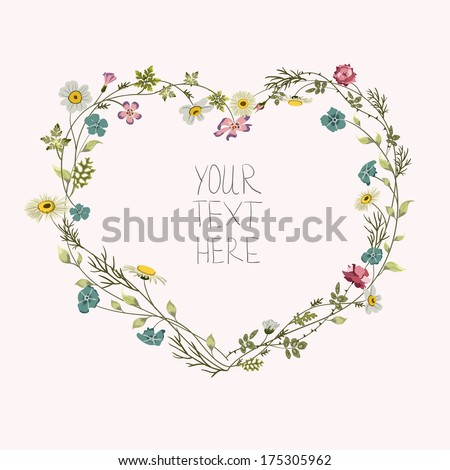 Abstract floral heart with place for your text - stock vector