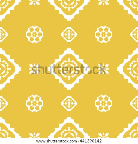 Abstract floral ornament seamless pattern of Yellow color for wallpapers and background.