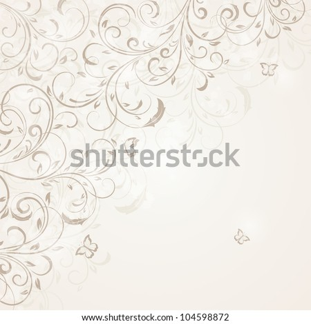 Abstract Floral ornament with butterfly for decor, Illustration. - stock vector