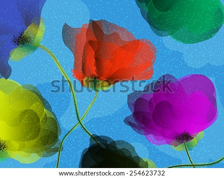 Abstract floral ornament with colored wildflowers. Background for your design and decor. - stock vector