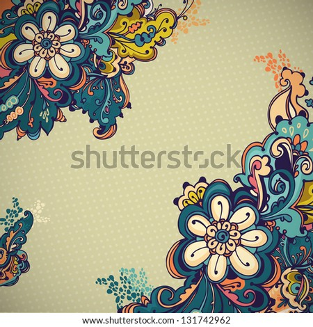Abstract floral ornament with many details. Excellent background for your greeting card. - stock vector