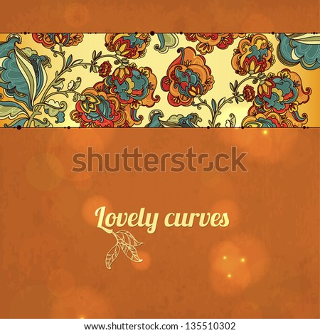 Abstract floral ornament with many details. Excellent vintage background for your greeting card - stock vector