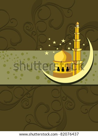 abstract floral pattern background with mosque - stock vector