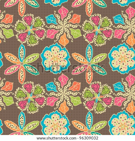 Abstract Floral Pattern In Dot-Style - stock vector