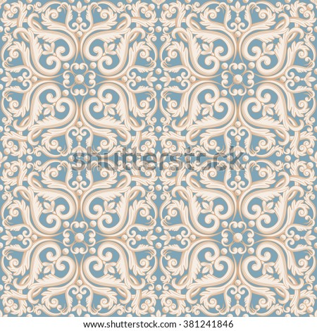 Abstract  floral pattern in pastel blue, beige colors. Vector illustration.