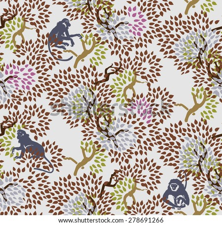 Abstract floral seamless pattern. Trees and monkeys. Exotic forest motif background - stock vector