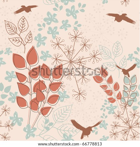 Abstract floral seamless pattern with birds - stock vector