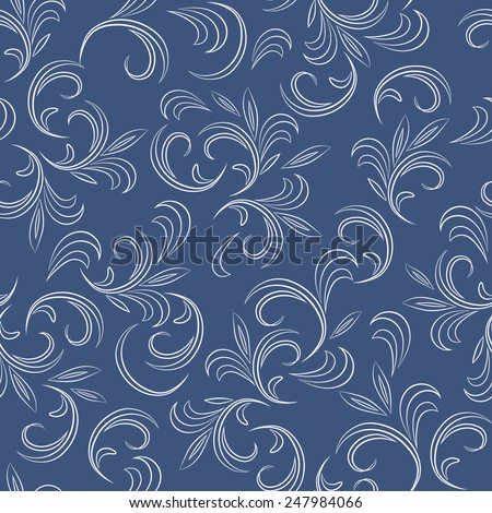 Abstract floral seamless pattern with thin leaves (2). Vector background