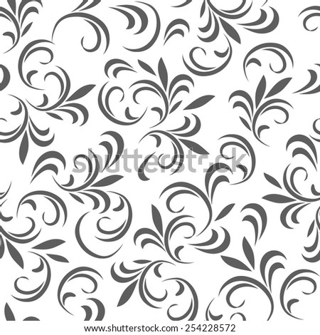 Abstract floral seamless pattern with thin leaves (11). Vector background