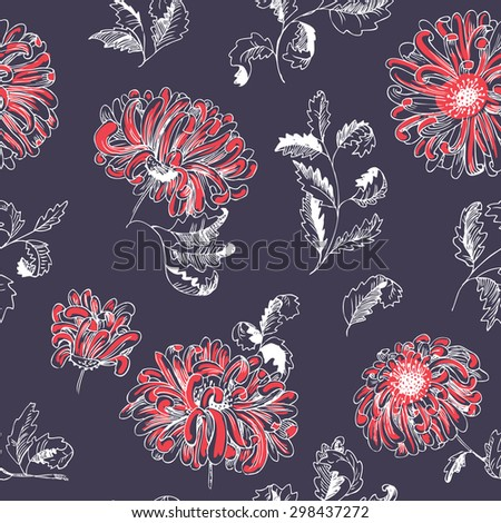 Abstract floral sketchy seamless pattern - stock vector