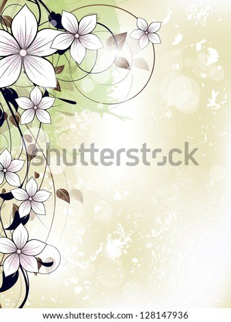 Abstract floral spring background with flowers and swirls - stock vector