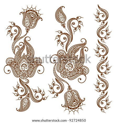 Abstract floral tattoo - stock vector