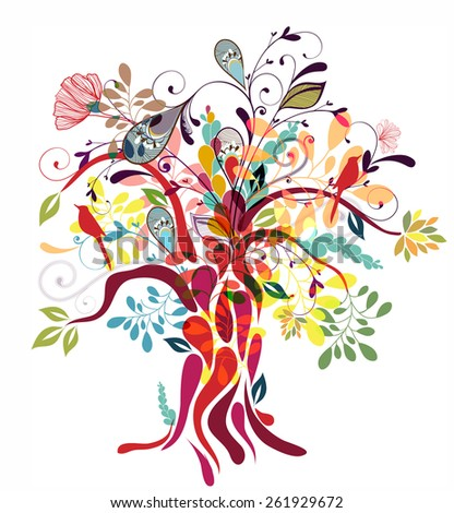 Abstract floral tree illustration - stock vector