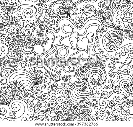 Abstract floral vector seamless texture with curling lines, flowers, decorative ornamental designs