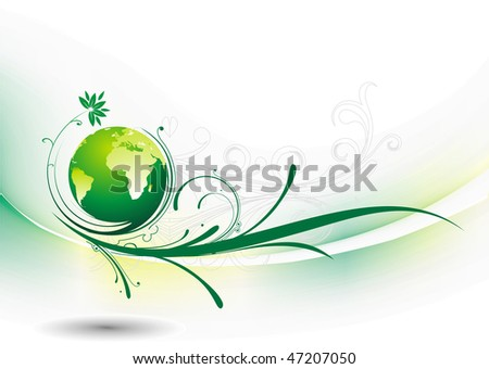 Abstract floral wave line illustration with swirl globe, vector illustrator, No mesh in this Vector