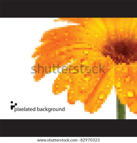 Abstract flower background - pixelated vector - stock vector