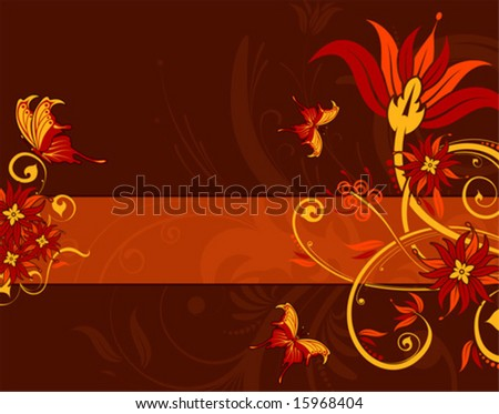 Abstract flower background with butterfly, element for design, vector illustration