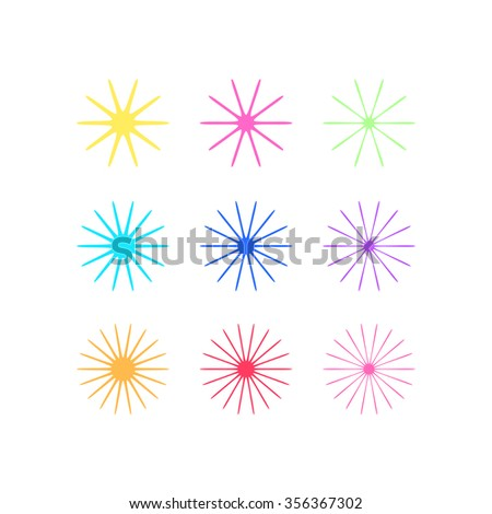 Abstract flower bloom with colorful set on white background, vector illustration