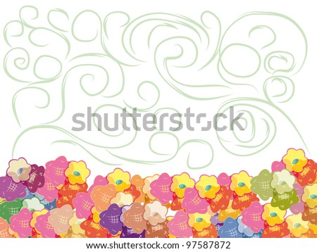 abstract flower frame with curl branch
