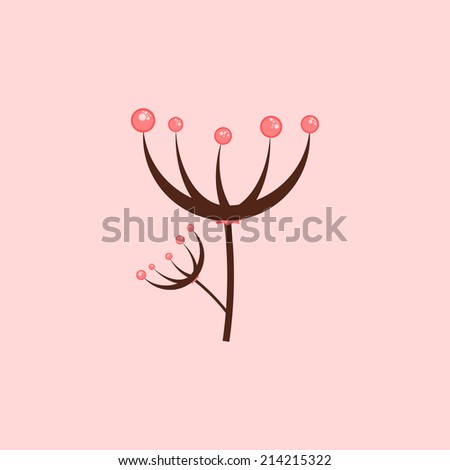 Abstract flower illustration. Plant, with red berries. Floral concept. Use for card, poster, brochure, banner, web design. Easy to edit. Vector illustration - EPS10. - stock vector