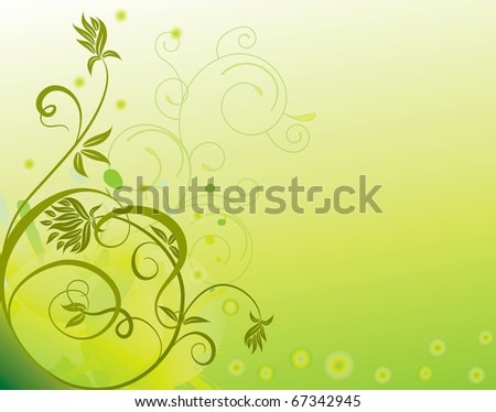 abstract flower Illustration vector spring summer green - stock vector