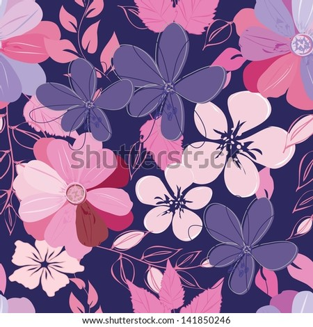 Abstract flower seamless pattern background - stock vector