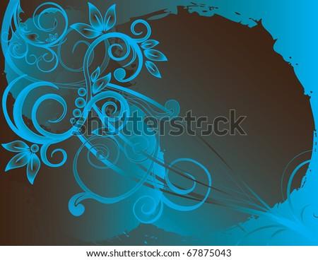 abstract flower spring summer autumn illustration vector blue - stock vector