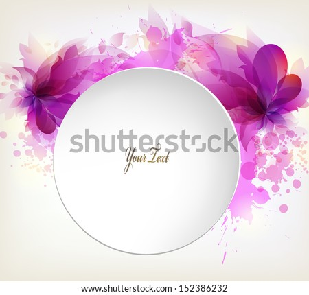 abstract flower with violet elements, blots and place for your text. Vector design - stock vector