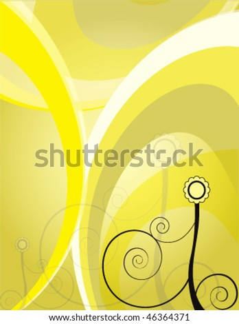 Abstract flower with yellow background