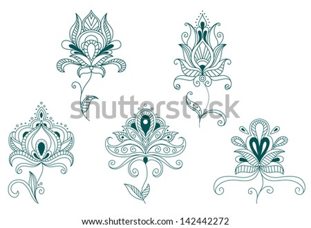 Abstract flowers and blossoms set isolated on white background. Jpeg version also available in gallery  - stock vector