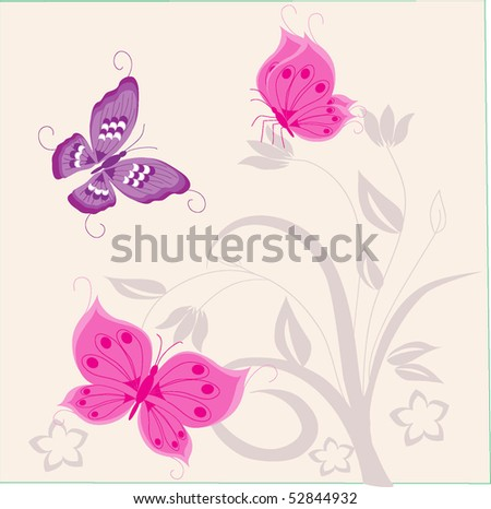 Abstract flowers and butterfly