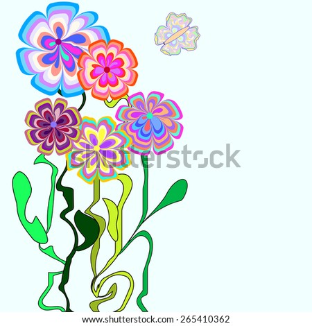 Abstract flowers and butterfly for greeting card