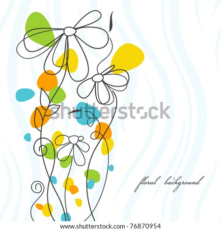 Abstract flowers card - stock vector