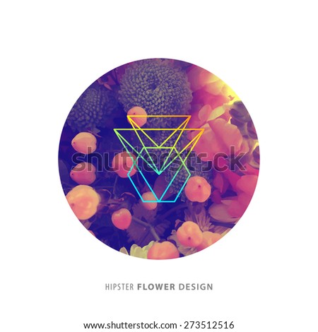 Abstract Flowers Design with Hipster Geometric Label for Contemporary Logo Design. Floral Frame for Poster, Banner, Placard, Restaurant or Boutique Identity - stock vector