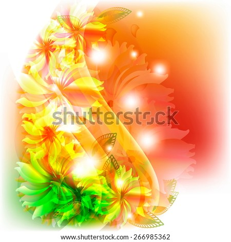 Abstract flowers on an orange background - stock vector