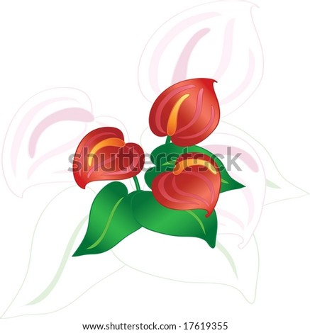 Abstract flowers on white, vector illustration - stock vector
