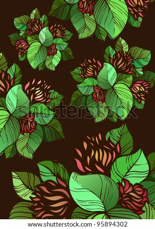 Abstract flowers pattern with black background