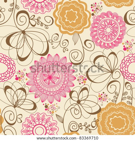 Abstract flowers seamless pattern - stock vector