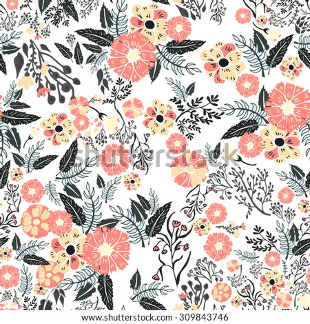 Abstract flowers seamless pattern. Colorful vector background - stock vector